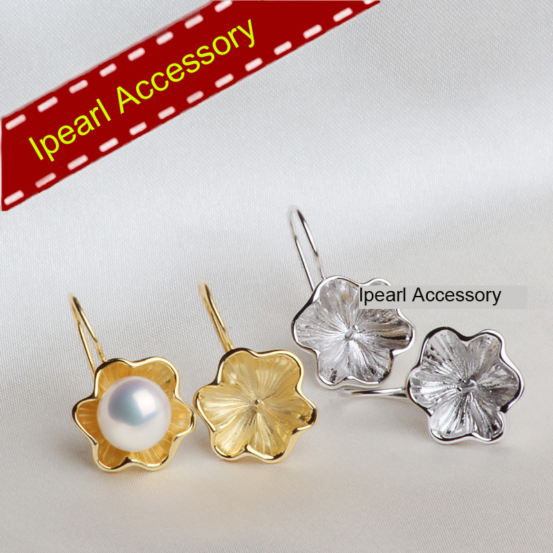 S925 Sterling Silver Lotus Petals Earrings Holder Natural Pearl Findings Women Diy Jewelry Earring Hook Component In