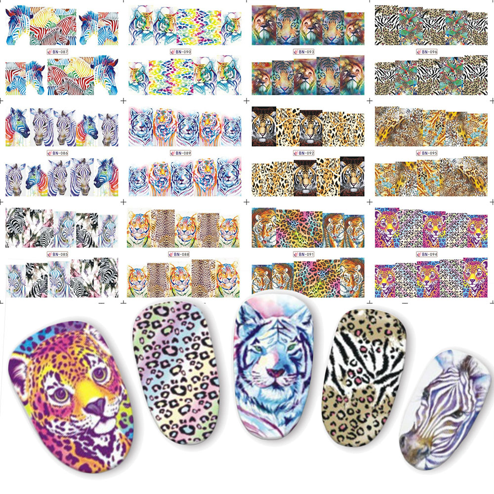 12pcs Leopard Lion Nail Sticker Animal Designs Water Transfer Nail