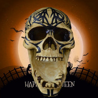 Helloween Terror Home Decorations Simulation Big Mouth Flower Pattern Resin Skull Tricky Props Pub Ornaments X1036