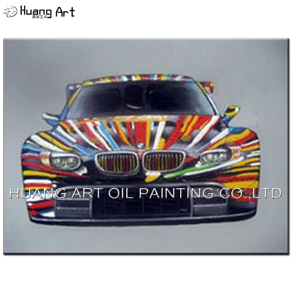 Colorful BMW Car Oil Painting for Boy's Room Decoration Hand Painted Modern Abstract Car Picture On Canvas Wall Art Painting