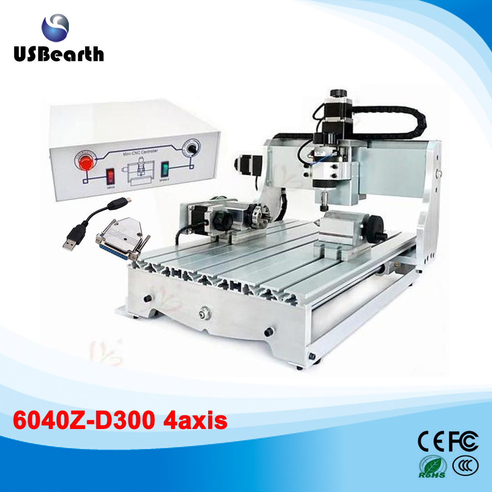 Russia tax free 4axis mini CNC router 6040Z-d 300W air cooling cnc spindle mini cnc milling machine russia tax free 3d woodworking cnc router cnc 6040 4 axis cnc milling machine with spindle 500w