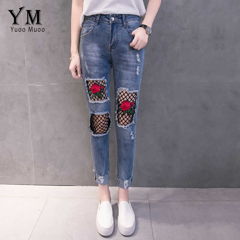 a8abf16c51b3f4 YuooMuoo New Hole Ripped Jeans for Women Fashion Net Design Jeans with  Embroidery Rose Push Up