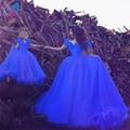 Cenicienta Vestidos de Bola Azul real Madre de la Novia Vestidos de Noche de Las Mujeres Vestido de Organza Ata Para Arriba Por Encargo