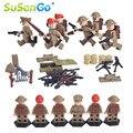 Figuras militares mini juguetes guerra soldado del ejército del norte de áfrica con arma de los niños bloques de construcción de juguete modelo susengo