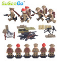Military Figures Mini Toys North Africa War Army Soldier with Weapon Kids Building Blocks Model Toy SuSenGo