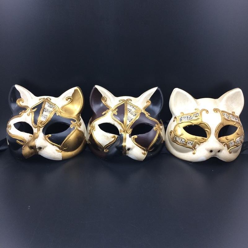 Sexy Handgemalte Musik Hinweis Venezianische Maske Katze Gesichtsmasken Frauen Vollmaske Weihnachts Parteibevorzugung DEC167
