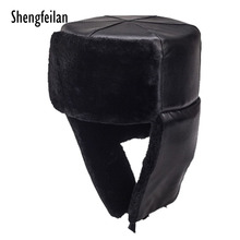 fe6f69ac2cfe5 Winter Russia Men Real Lamb Wool Fur Bomber Hat Thick Warm Leather Caps  Male Leather Earlap