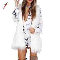 Inverno femminile della maglia Elegante gilet per le Donne Outwear Caldo 2018 Donne Senza Maniche Bianco Maglia Sottile Del Faux Gilet di Pelliccia del Cappotto del Rivestimento