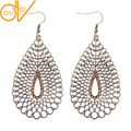 2017 New Fashion Jewelry Water Drop Shaped Hollow Alloy Big Dangle Earrings 3 Colors Rhinestone Decor Boho Earrings HQE404