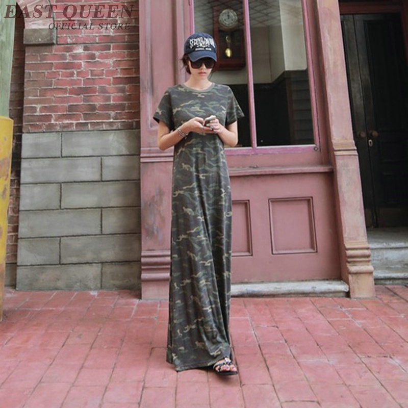 Militaire Camouflage Harajuku Long 1 Robe Style Maxi Dd1180 Tfq78w