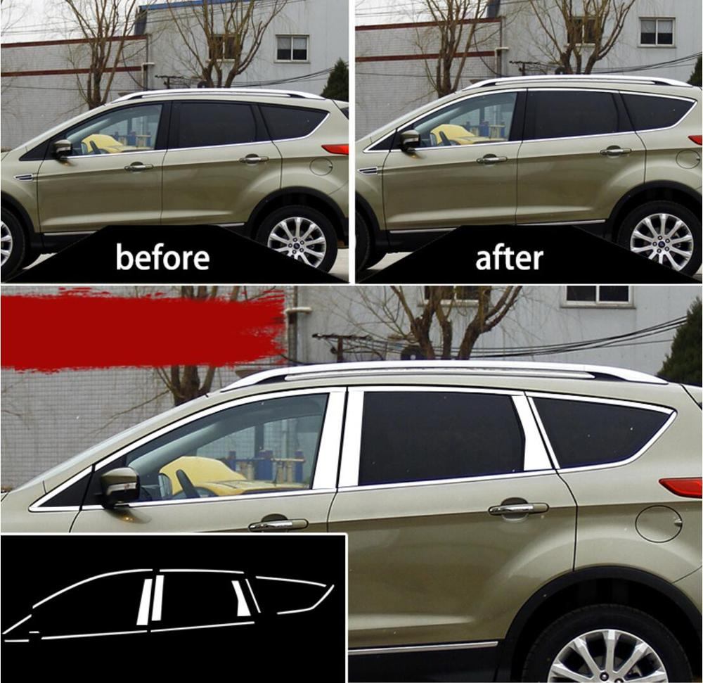 Stainless steel Exterior Window Sill Lid Trims for ford kuga 2012 2014 2015 2016 2017 2013 2018|Chromium Styling| |  - title=