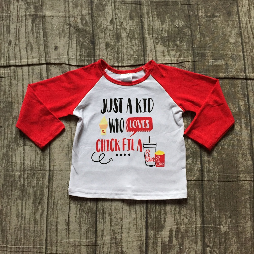 Exclusive Fall/winter red T-shirt just a kid who loves chilck fila top ruffle shirt icing raglans t-shirt cotton boy clothing clothing loves blue s