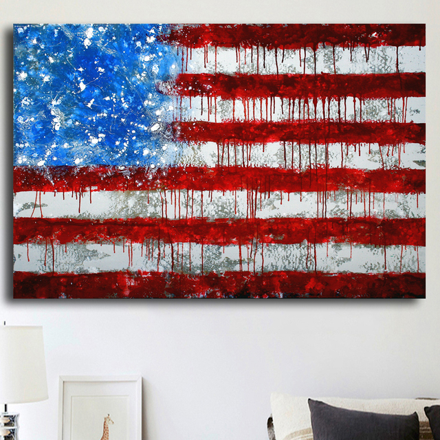 No Frame Abstract America Flag Picture Modern Home Wall Decor Canvas ...