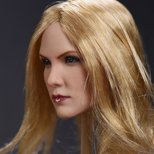 1 6 Female Head Carving Charlize Theron Blonde Hair Girl Head Charlize  Theron Head for 12 inches DIY Collections d48c4c029b01
