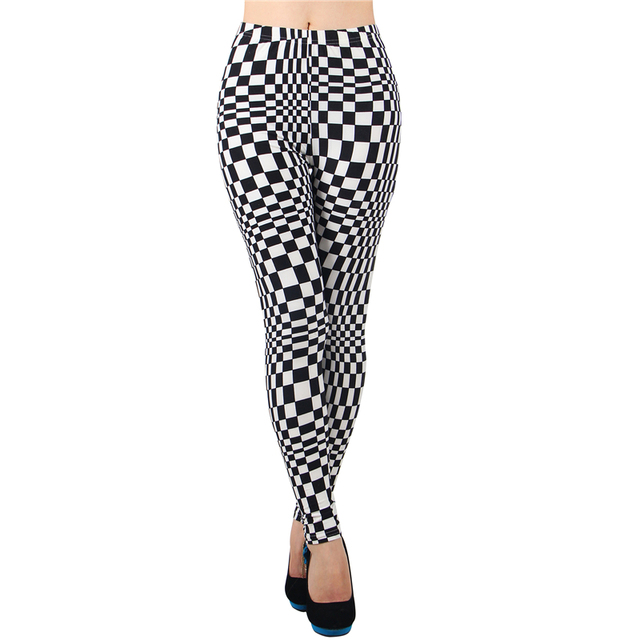 TA2319 Hot sale white and black plaid leggings 2016 fashion middle waist new recommend women leggings cheap fitness leggings