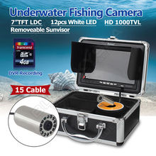 Free shipping!EYOYO 15m Cable 7″ LCD 1000TVL Fish Finder Fishing Camera DVR Recorder Stainless