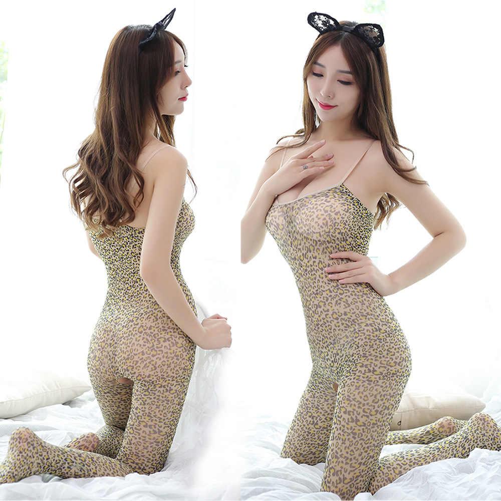 Sexy Da Báo in lụa Vớ Quần Lót Ren Sheer Đầm bé búp bê Quần Lót Catsuit sản phẩm gợi tình đồ ngủ mặc trang phục