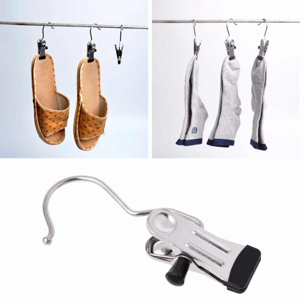 1 ADET Paslanmaz Çelik Önyükleme Askı Klip Perde Tutucu Çamaşır Kancası Asılı Giysi Pin Ev Askıları Aksesuarları C42