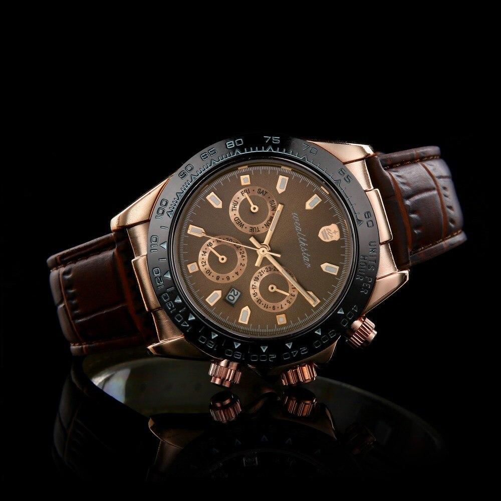 Wealthstar Luxusmarke lederband Daytona Fashion Casual Geschäfts Sports Military GMT Männlichen uhren Männer Rolle Mode Uhren