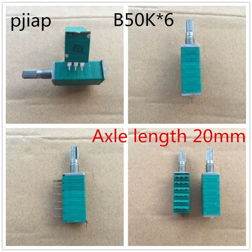 5pcs/lot 12 type precision potentiometer 6 joint B50KX6 handle length 20MM sound computer speaker volume B50K*6 148 type double potentiometer b50k handle length 10mm