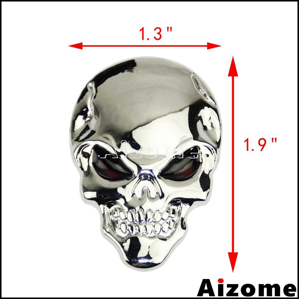Chrome alloy metal sticker 3d skull car stickers for harley motorcycle car body decoration devil skull