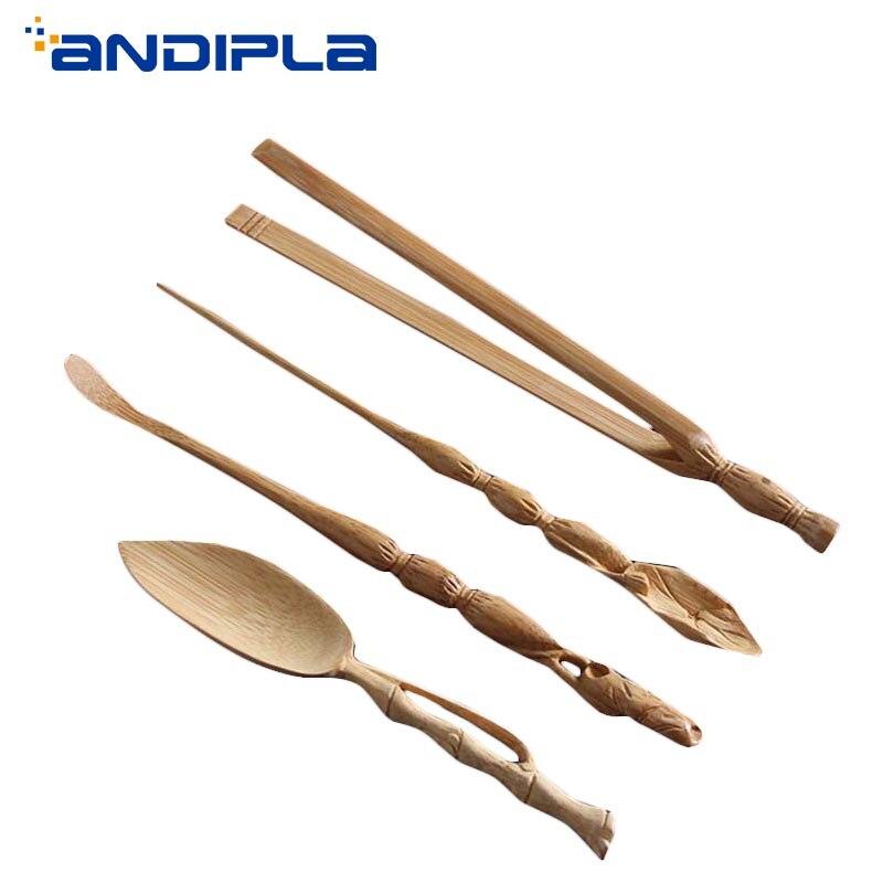 Japonais naturel bambou fait à la main sculpture Lotus thé cérémonie Scoop cuillère aiguille Clip Kung Fu thé Set accessoires café pelle