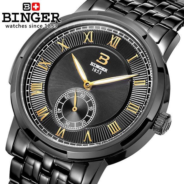Switzerland watches men luxury brand BINGER glow Mechanical Wristwatches leather strap 100M Water Resistance B-5037-9