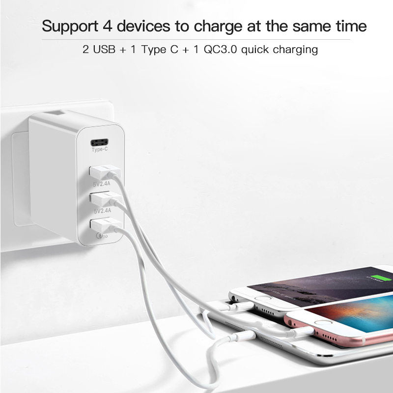 48W Quick Charge QC4 0 QC3 0 Type C USB Charger Adapter For iPhone Xiaomi Huawei