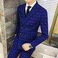 A Dupla Breasted Terno Xadrez 2016 Novo Outono Inverno Azul Royal Mariage Homme Traje Smoking Do Noivo Mais Recentes Modelos Casaco Calça