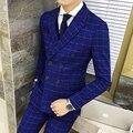 El Doble de Pecho Traje A Cuadros 2016 Nueva Otoño Invierno Royal Azul Novio Esmoquin Traje Homme Mariage Últimos Diseños Bragas de la Capa