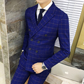 The Double Breasted Plaid Suit 2016 New Autumn Winter Royal Blue Groom Tuxedo Costume Homme Mariage Latest Coat Pant Designs