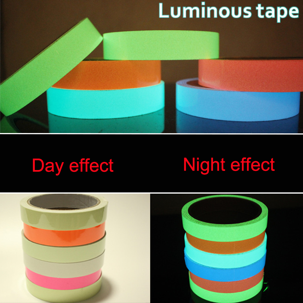 5M DIY Glow Luminous Tapes Warning Stripes Night Lighting Emergency Lines Fluorescent Anti-collision Strip Sticker DUO2