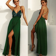 Fashion Women Spit Long Maxi Dress Evening Party V-Neck Beach Dresses Summer Formal Sundress Green fashion women summer boho long maxi dress evening party beach dress formal dresses sleeveless