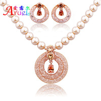 Luxury Anniversary Pearl Jewelry Sets For Woman Champagne Zircon Crystal Necklace Earrings Wedding Gift Wholesale Trendy