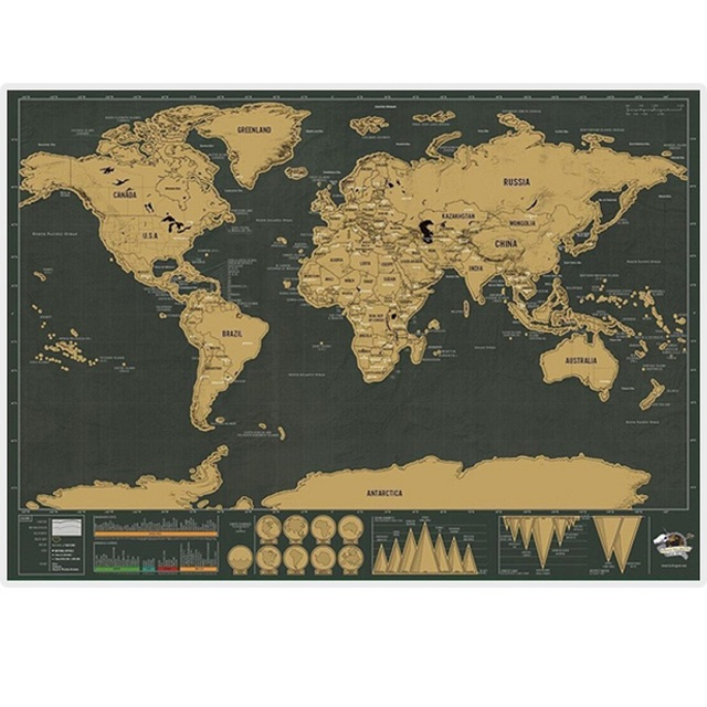 Free Shipping 1Piece 82.5x59.4cm Deluxe Travel World Map Foil Layer Coating Poster Personalized Black Journal World Map