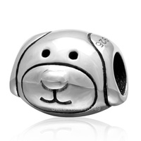 Vintage Tone Real 925 Sterling Silver Large Hole Dog Animal European Beads For European Charm Bracelets