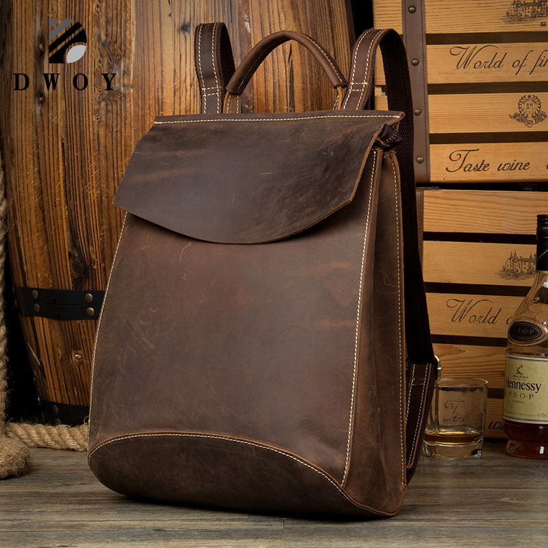 DWOY Real Genuine Leather man Women Backpack Crazy Horse Cowhide School Strap Laptop Daily Backpack Top Quality Handcraft BagsDWOY Real Genuine Leather man Women Backpack Crazy Horse Cowhide School Strap Laptop Daily Backpack Top Quality Handcraft Bags