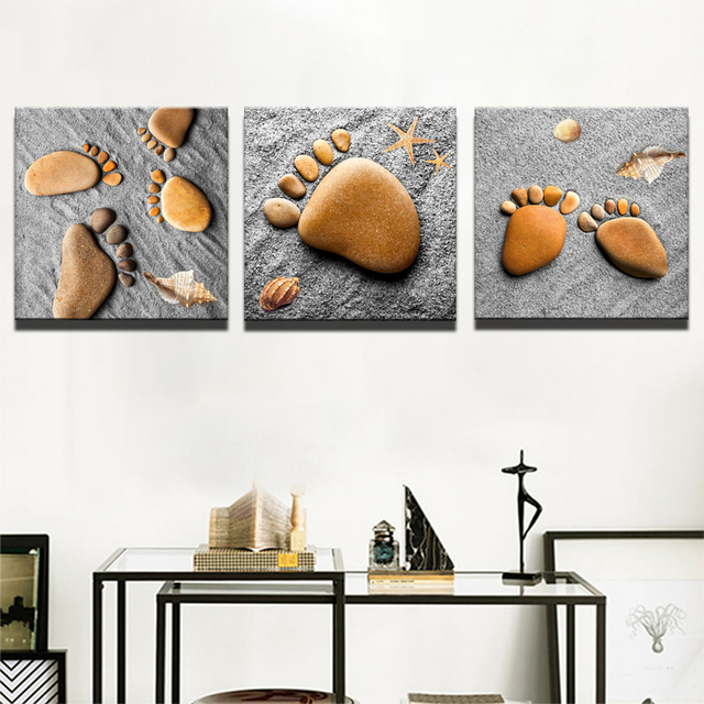 Footprints on The Sand With Stones Canvas Painting Art Print Poster ...