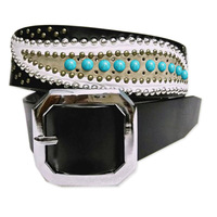 Bollywood Famous Films Star Khan Genuine Leather White Leaves Turquoise Stone Lucky Retro Brass Studded Punk