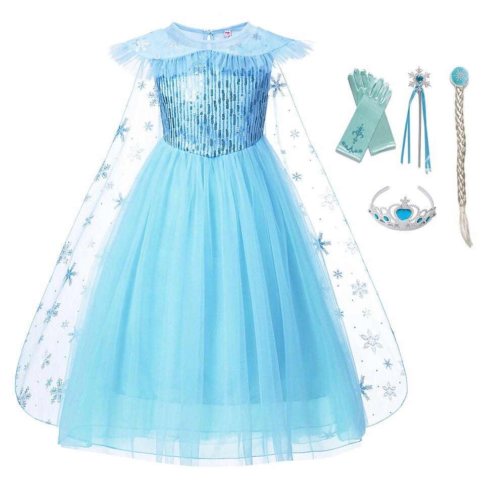 Snow Queen Elsa Dress for Girls Princess Anna Costume with Cloak Kids Sequins Clothes Child Elza Vestidos Summer Fancy Gown