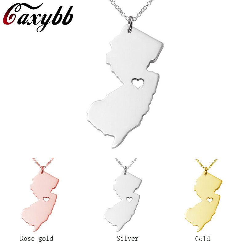 3 color New Jersey state map necklace Stainless Steel map Pendant Necklaces bijouterie accessoriesN49