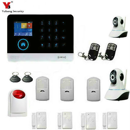 YobangSecurity Wireless 2.4G WiFi GSM Home Burglar Fire Alarm Security System With Wireless Flash Siren IP Camera Door Sensor yobangsecurity 2016 wifi gsm gprs home security alarm system with ip camera app control wired siren pir door alarm sensor