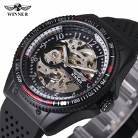 WINNER Sport Men Black Automatic Mechanical Watch Rubber Band Skeleton Dial Fashion Cool Design Wristwatch Gift