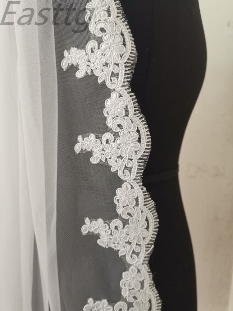 Voile Mariage 90cm Lace Edge Short Wedding Veil with Comb One Layers Tulle Bridal Veil Cheap Wedding Accessories Veu de Noiva