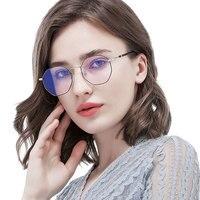 Photochromic blue ray block glasses for man women computer gaming anti eye strain eyewear radiation light filter polygon goggle
