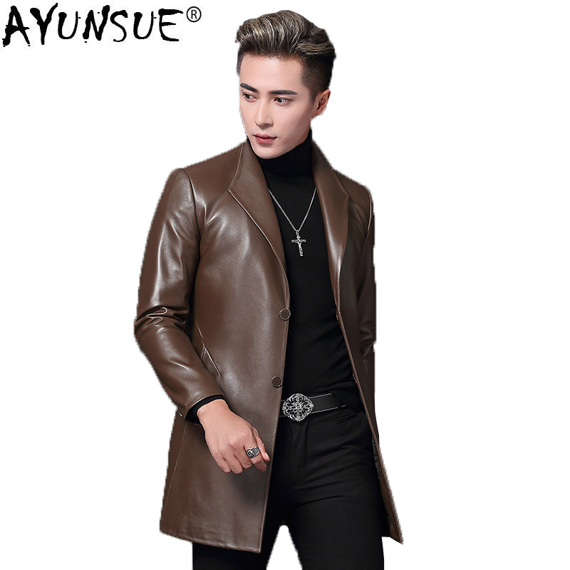 AYUNSUE Genuine Leather Jacket Men Sheepskin Coat Spring Autumn Windbreaker Long Overcoat Blouson Cuir Homme T-68-8009 KJ1613