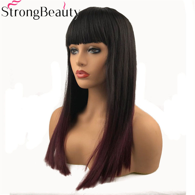 StrongBeauty Long Straight Wigs Synthetic Hair Darkest Brown And Red Ombre Wig