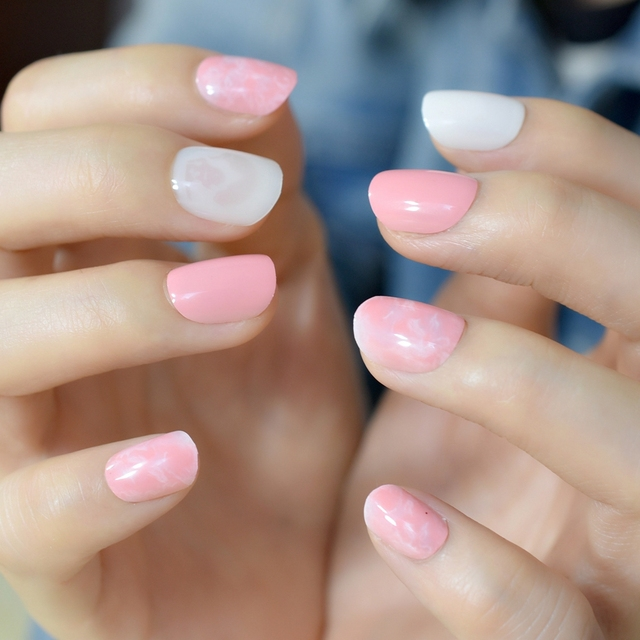 Candy Color Acrylic Nails Light Pink Marble Short Round Pre Designed