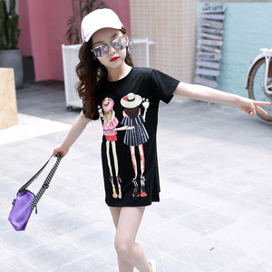Image 4 - Children Clothing T Shirt Girls Summer 2019 Toddler Girl Shirts Cute Cotton Clothes for Big Kids Teenage Cartoon Long Tee Coats