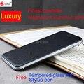 Роскошные подлинная кожа Флип case для apple iphone 6 plus коровьей + алюминиевый тонкий задняя крышка для iphone 6 5.5 'бесплатно закаленное стекло